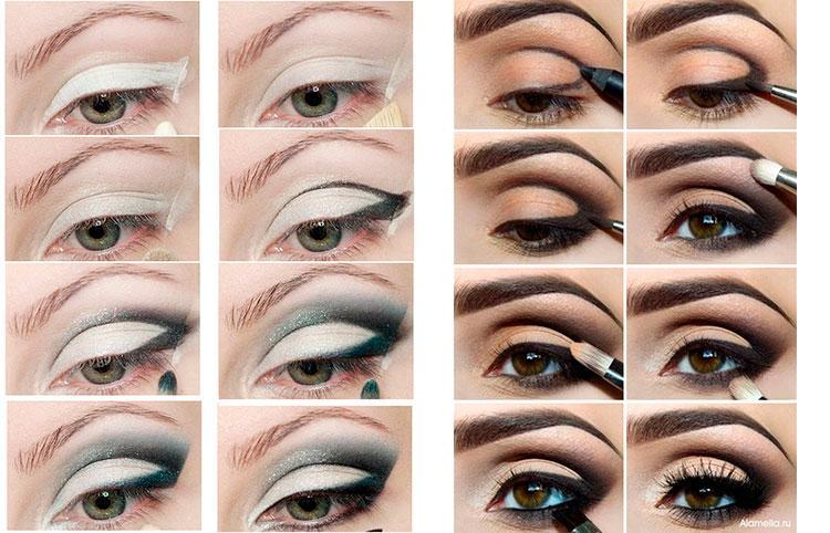 Пример правильного нанесения теней на глаза