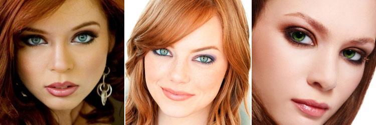 3 фото примера макияжа зеленых глаз у рыженьких девушек