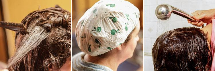 После нанесения хны на волосы нужно закутать голову или одеть чепчик
