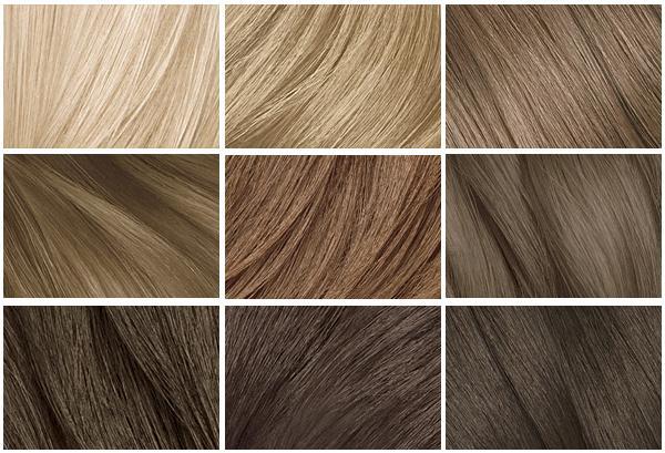 Палитра русого цвета волос